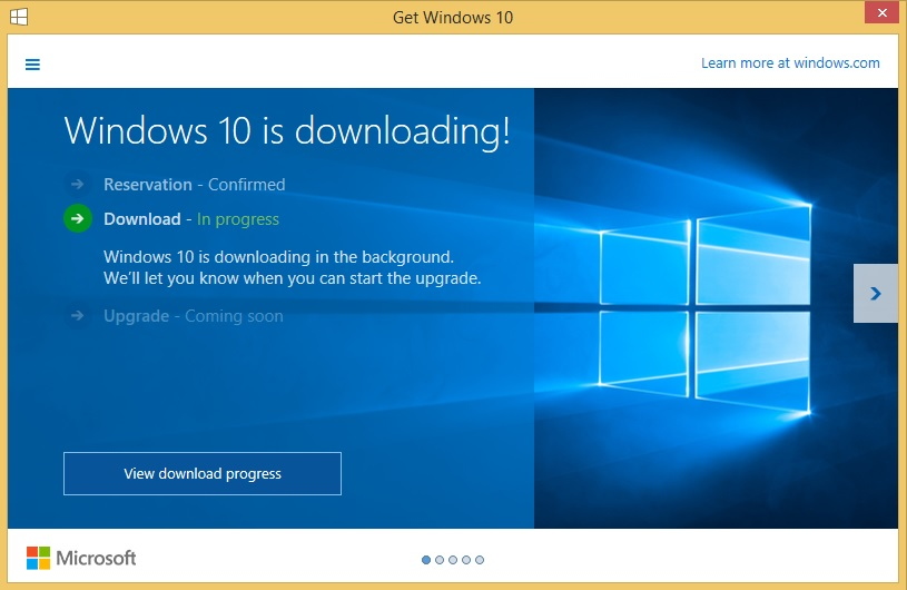 Windows 10 is Downloading